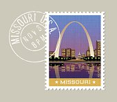 illustration of Gateway Arch and downtown, St. Louis. Missouri