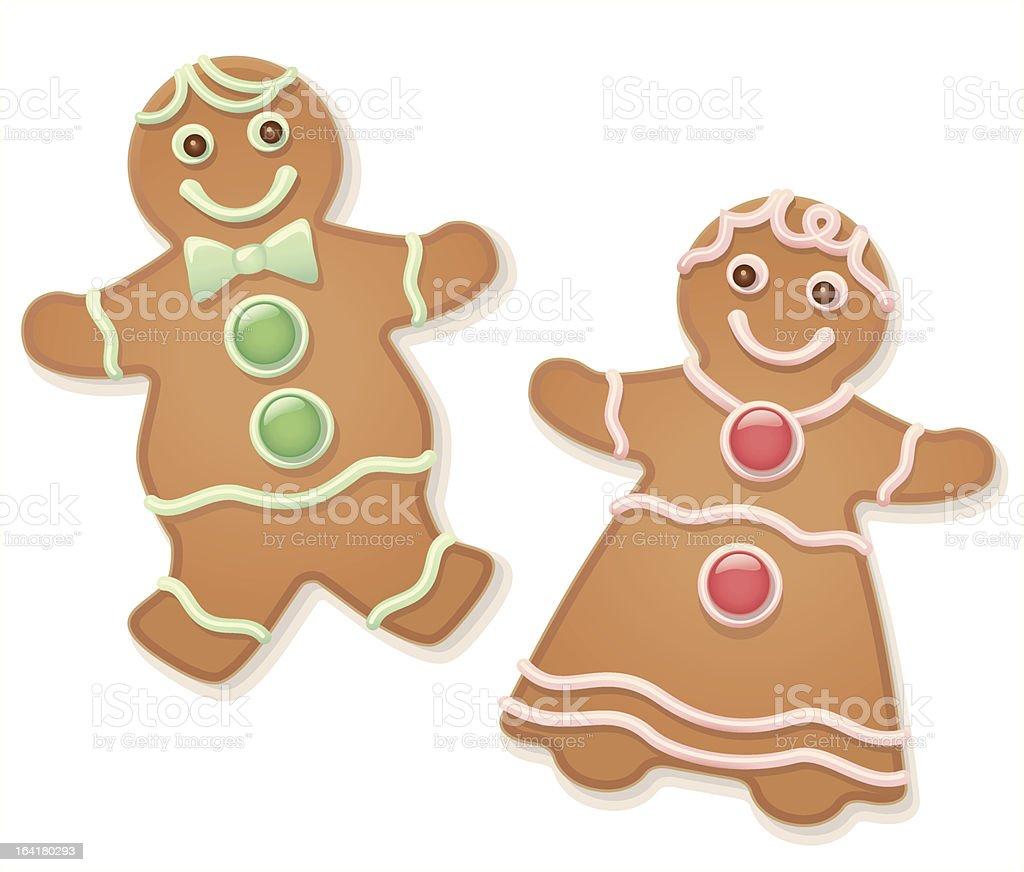Illustration of gingerbread man and woman vector art illustration