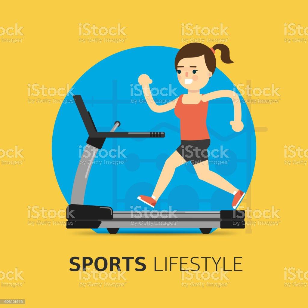 Illustration of girl running on the treadmill. vector art illustration