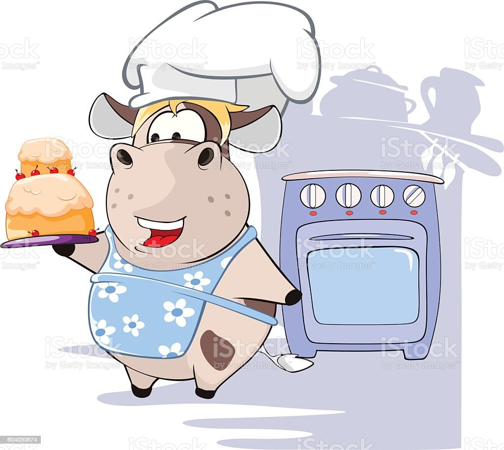 Illustration of Gourmet Chef Cow Cartoon Character vector art illustration