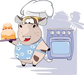 Illustration of Gourmet Chef Cow Cartoon Character