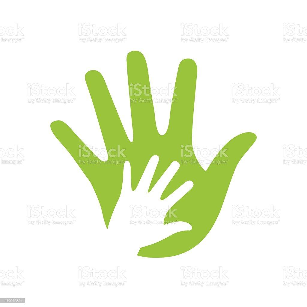 Illustration of green adult's hand and white kid's hand vector art illustration