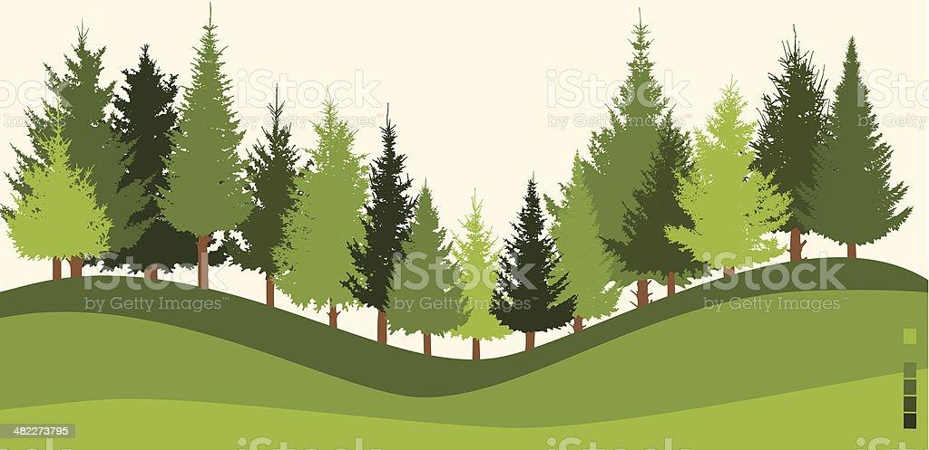 Illustration of green forest on sloped land vector art illustration