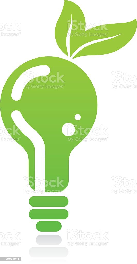 Illustration of green light bulb with leaves at the top vector art illustration