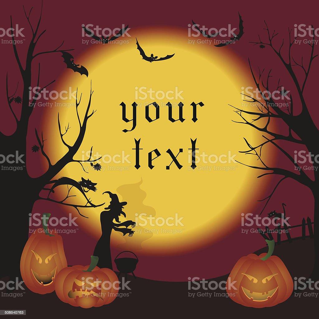 Illustration of Halloween. Witch. Bats. pumpkins vector art illustration