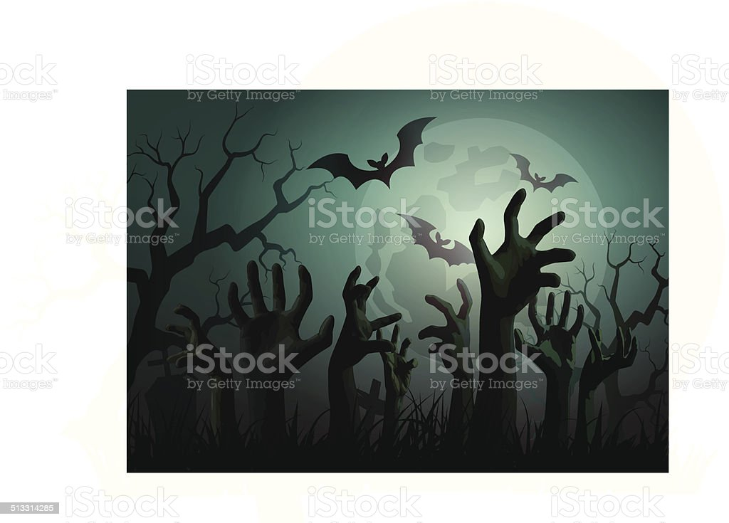 Illustration of Halloween Zombie Party. vector art illustration
