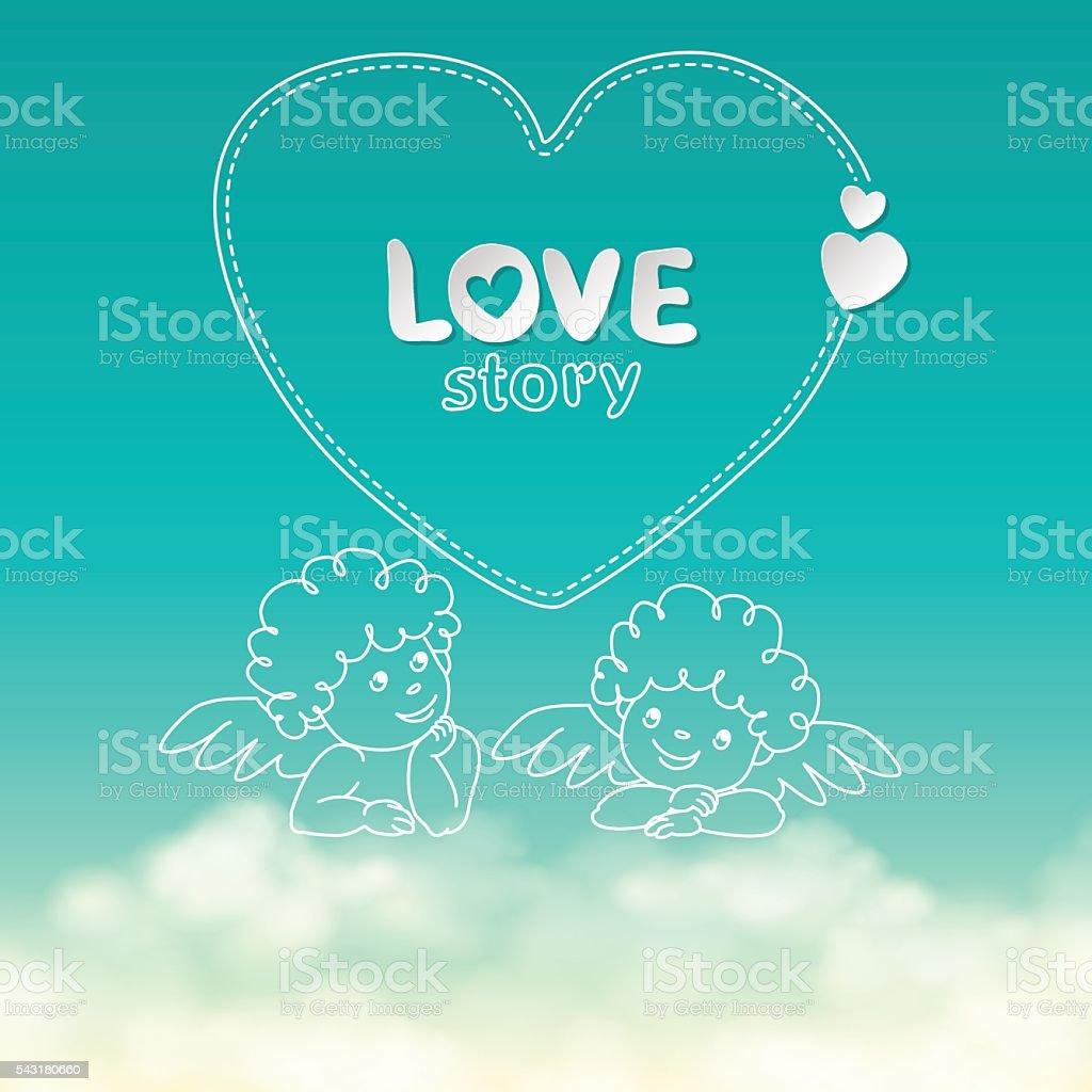 Illustration of hand drawn love story quote width cupid on vetor e ilustração royalty-free royalty-free