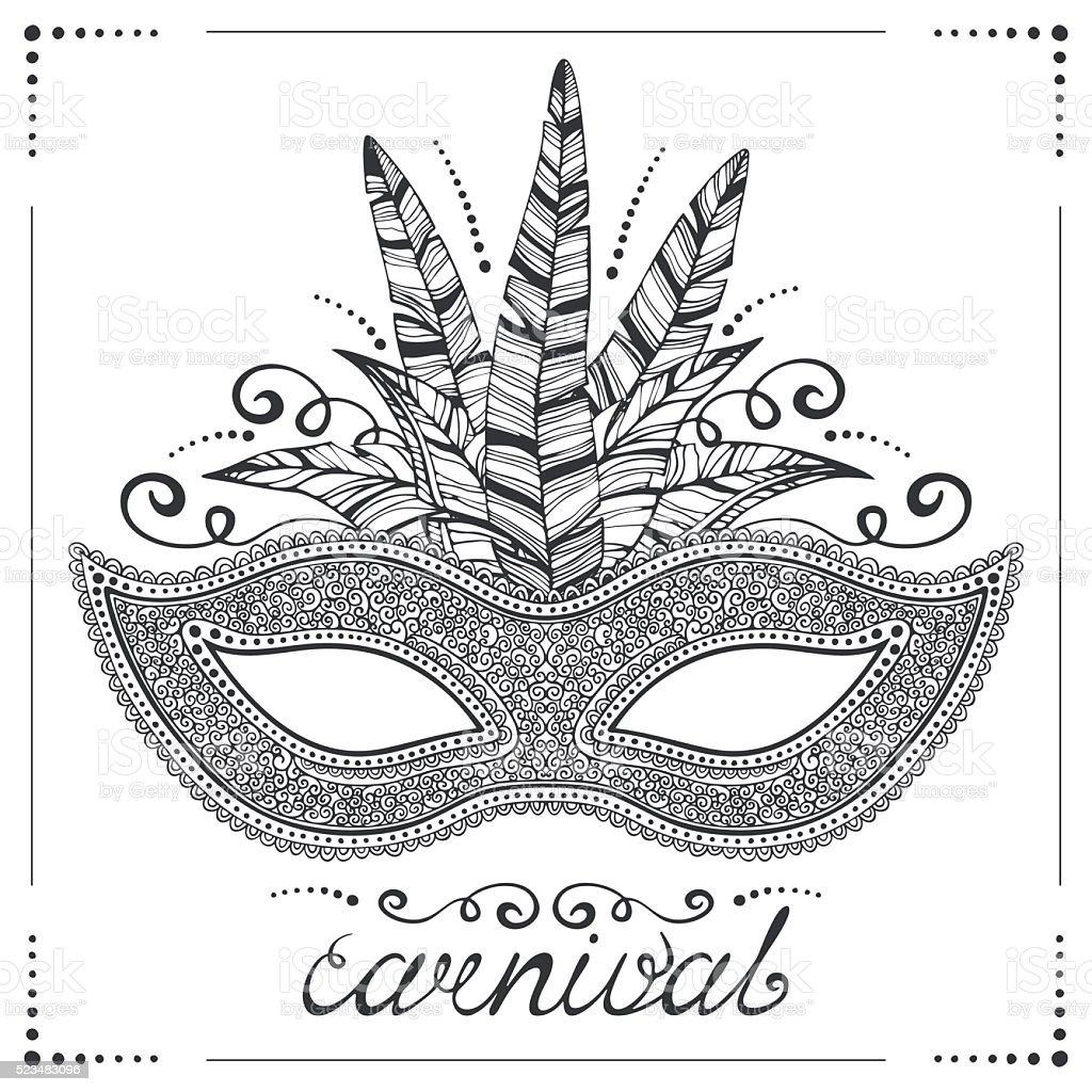 Illustration of hand drawn venetian carnival mask vector art illustration
