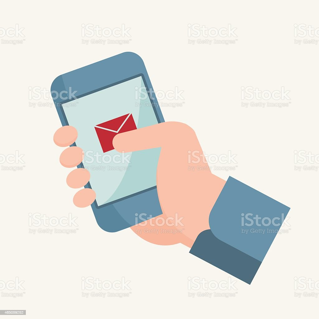 Illustration of Hand touching smart phone vector art illustration