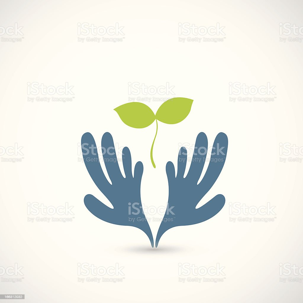 illustration of Hands and plant royalty-free stock vector art