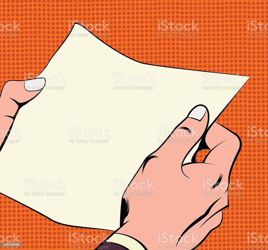 Illustration of hands holding a paper sheet vector art illustration