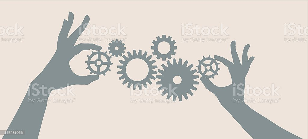 Illustration of hands holding cogs and wheels for teamwork. royalty-free stock vector art