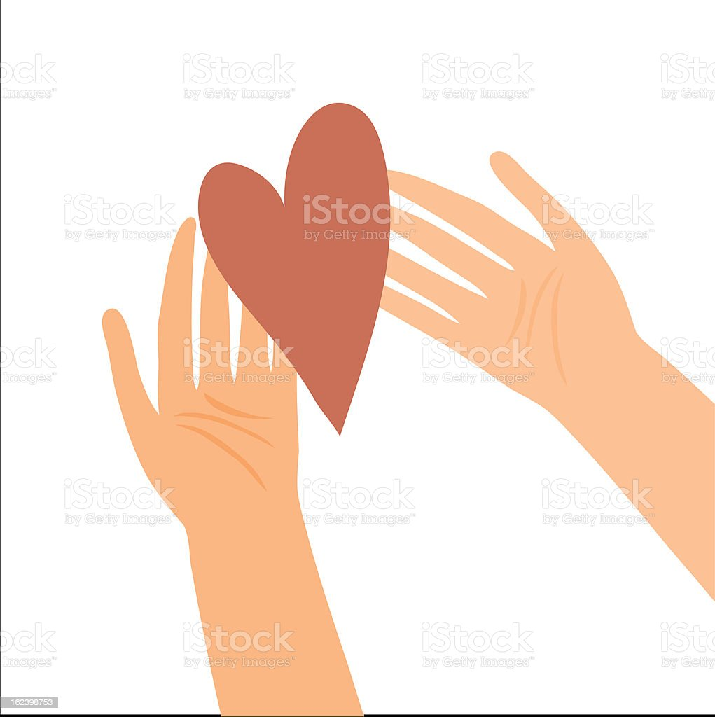 Illustration of hands with heart vector art illustration