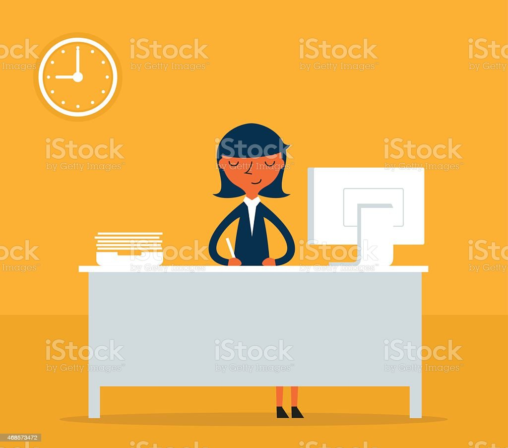 Illustration of happy businesswoman working at her desk vector art illustration