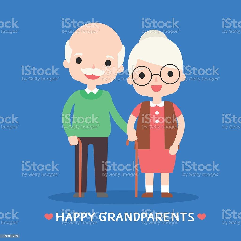 illustration of happy grandparents vector art illustration