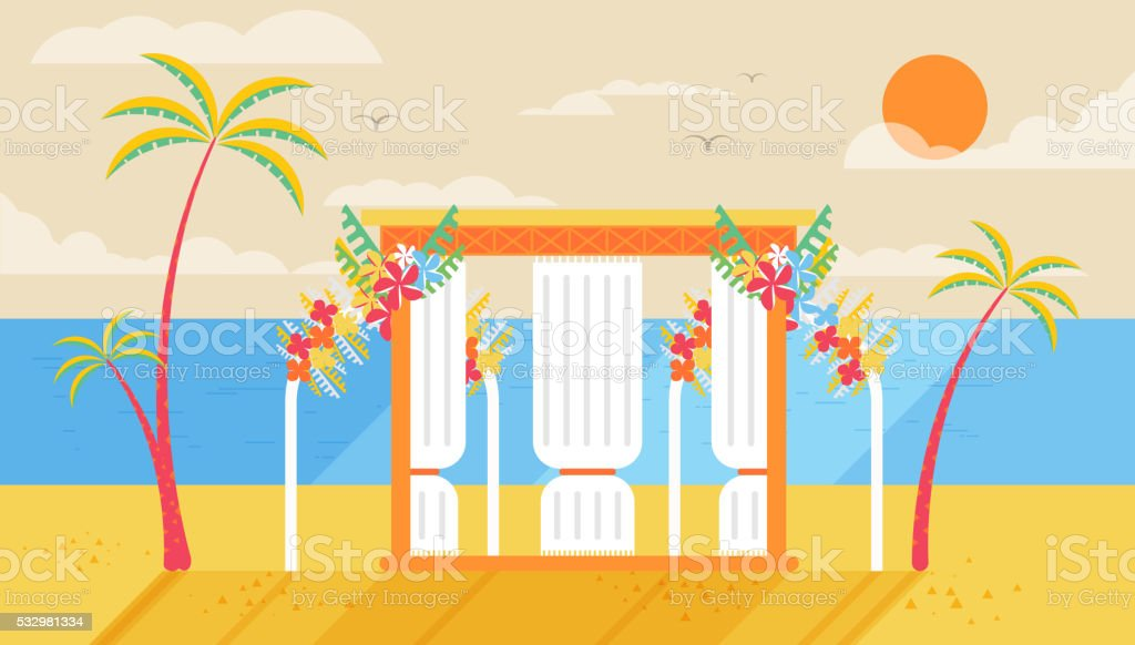 illustration of happy sunny summer day at the beach with vector art illustration