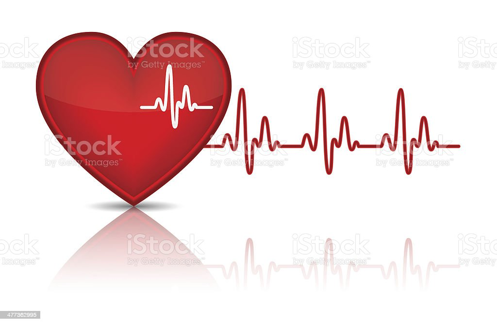 Illustration of heart with heartbeat, electrocardiogram, vector art illustration
