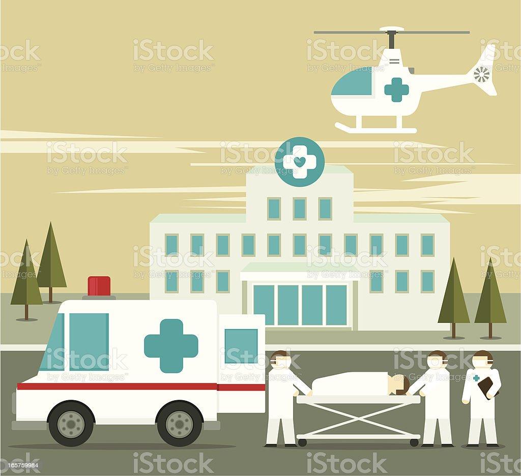Illustration of hospital ambulance and person on stretcher vector art illustration