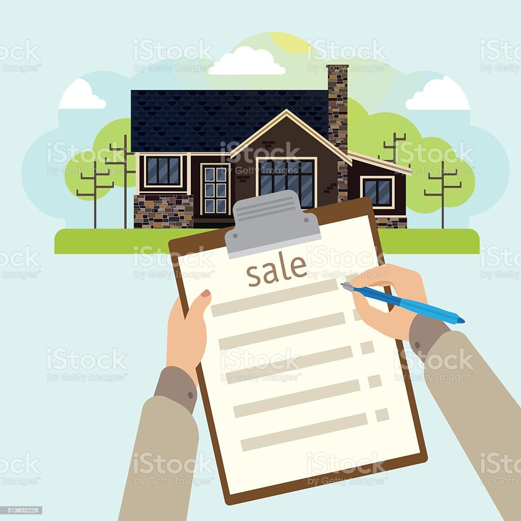 Illustration of house for sale vector art illustration