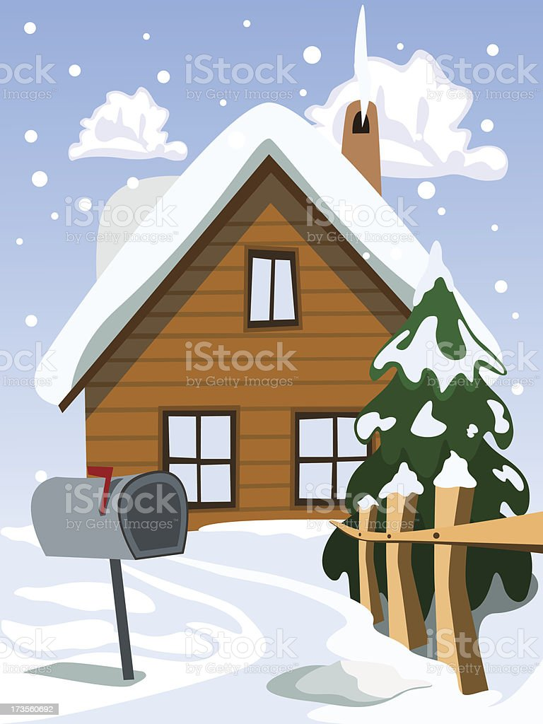 Illustration of house in snow landscape royalty-free stock vector art