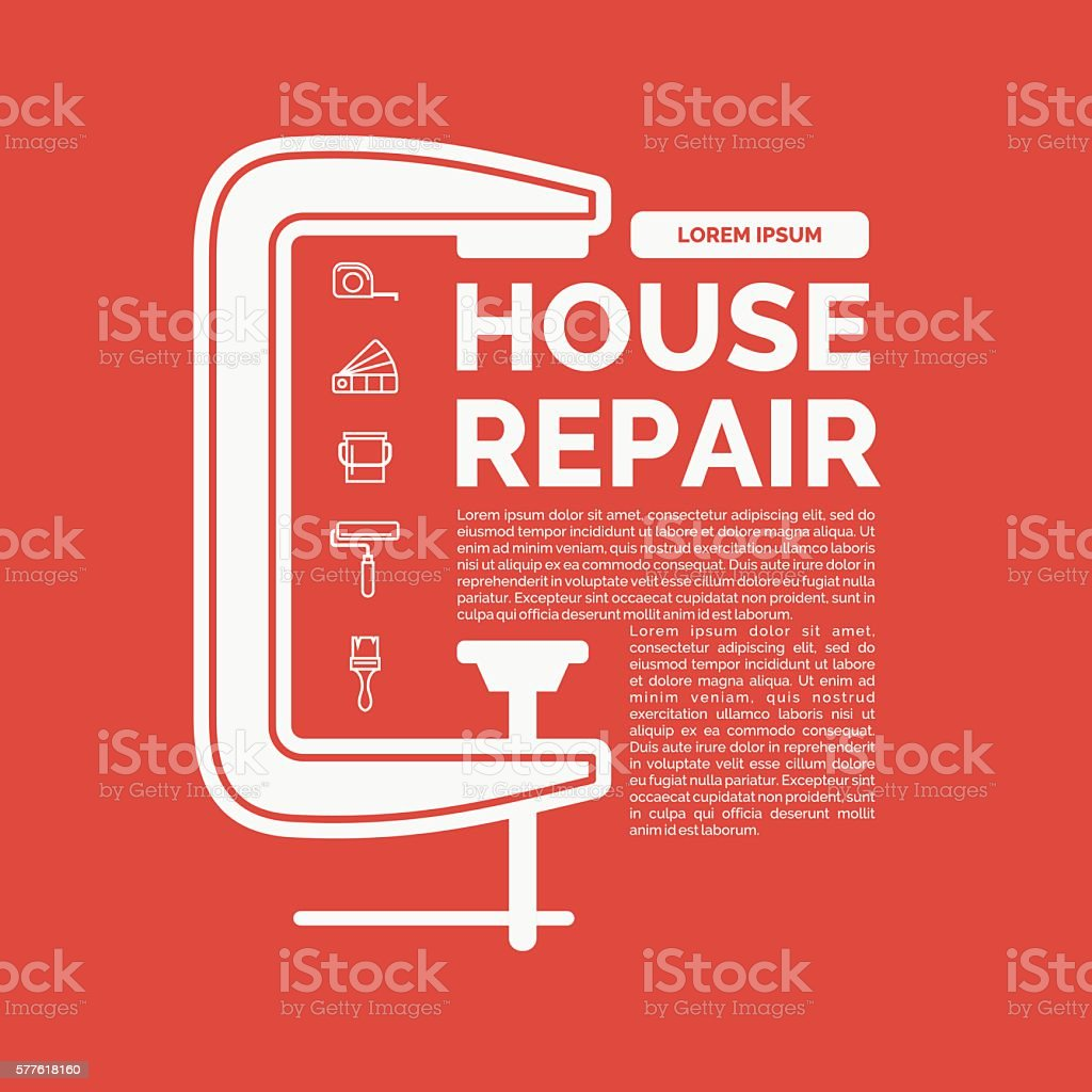 Illustration of house repair with tools and clamp vector art illustration
