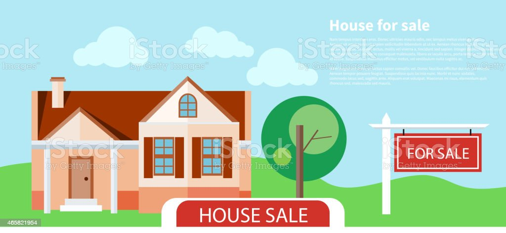 Illustration of house with tree and For Sale sign vector art illustration