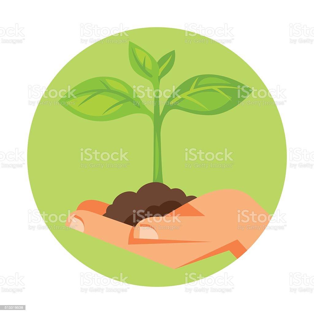 Illustration of human hand holding green small plant vector art illustration