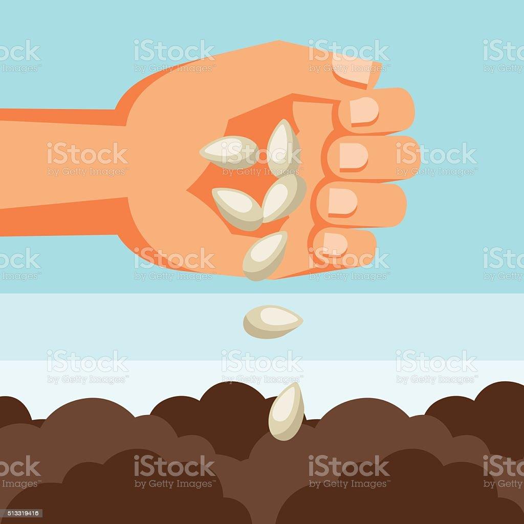 Illustration of human hand sows seeds into soil vector art illustration
