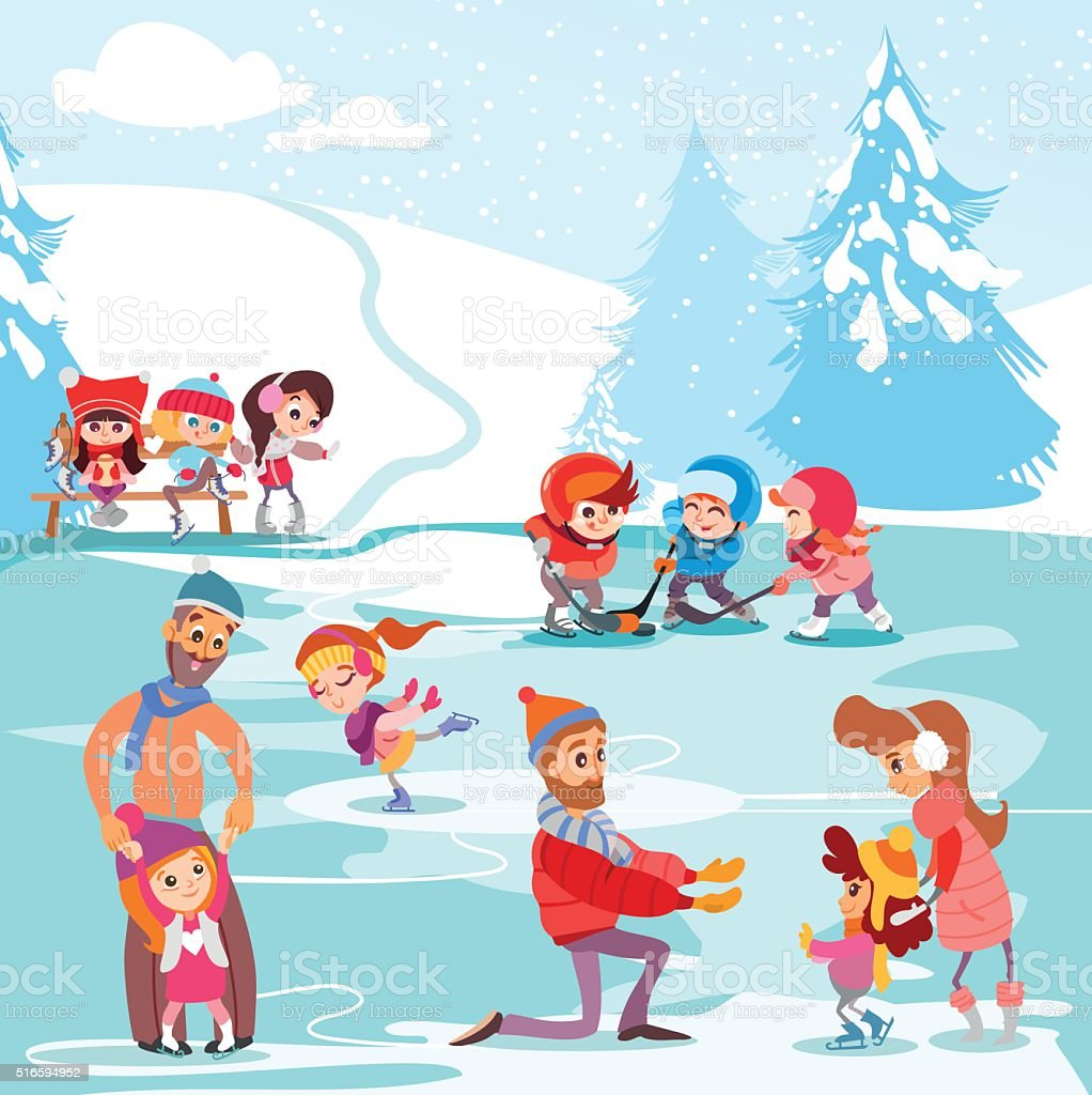 Illustration of ice rink in winter park with families vector art illustration