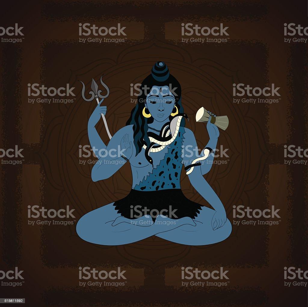 Illustration of Indian Supreme God Lord  Shiva sitting in meditation. vector art illustration