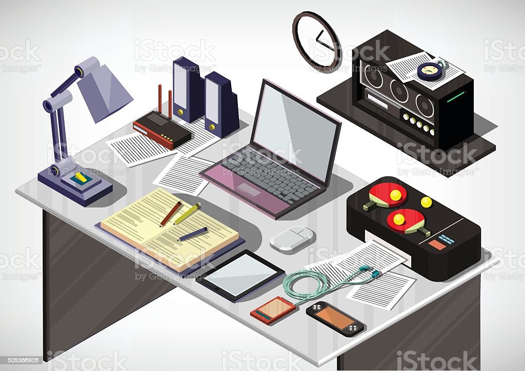 illustration of info graphic interior office concept vector art illustration