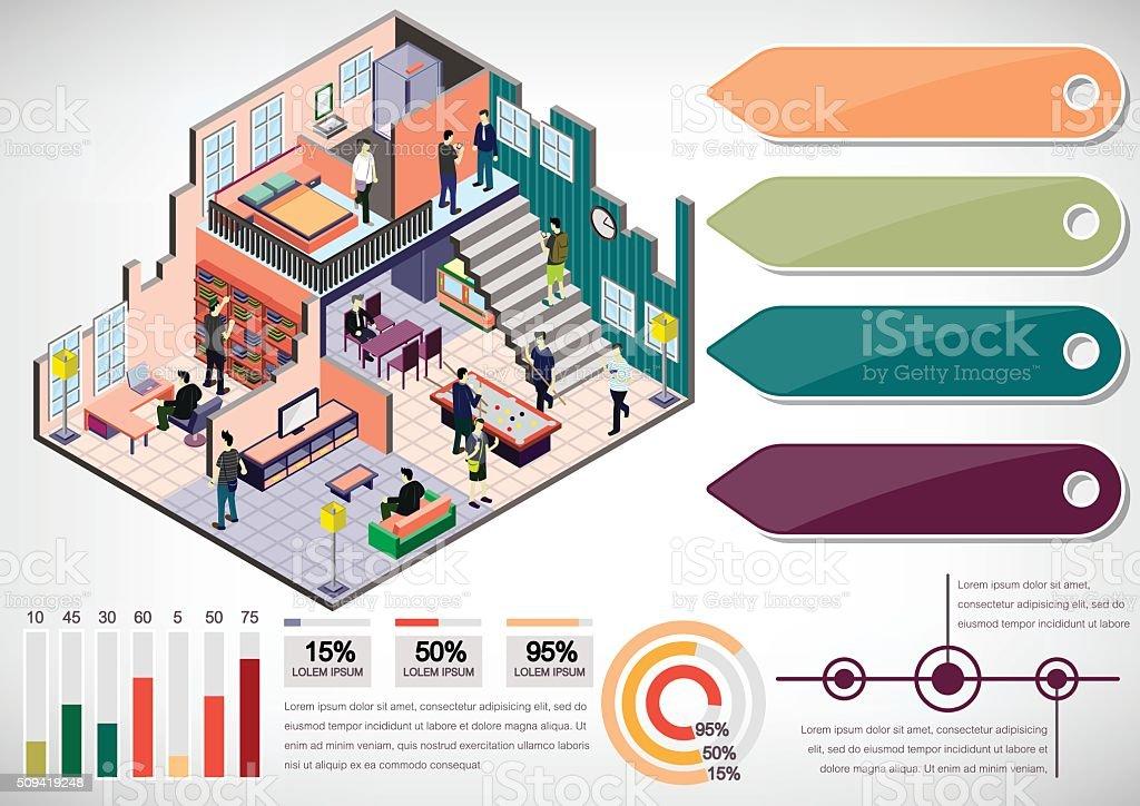 illustration of info graphic interior room concept vector art illustration