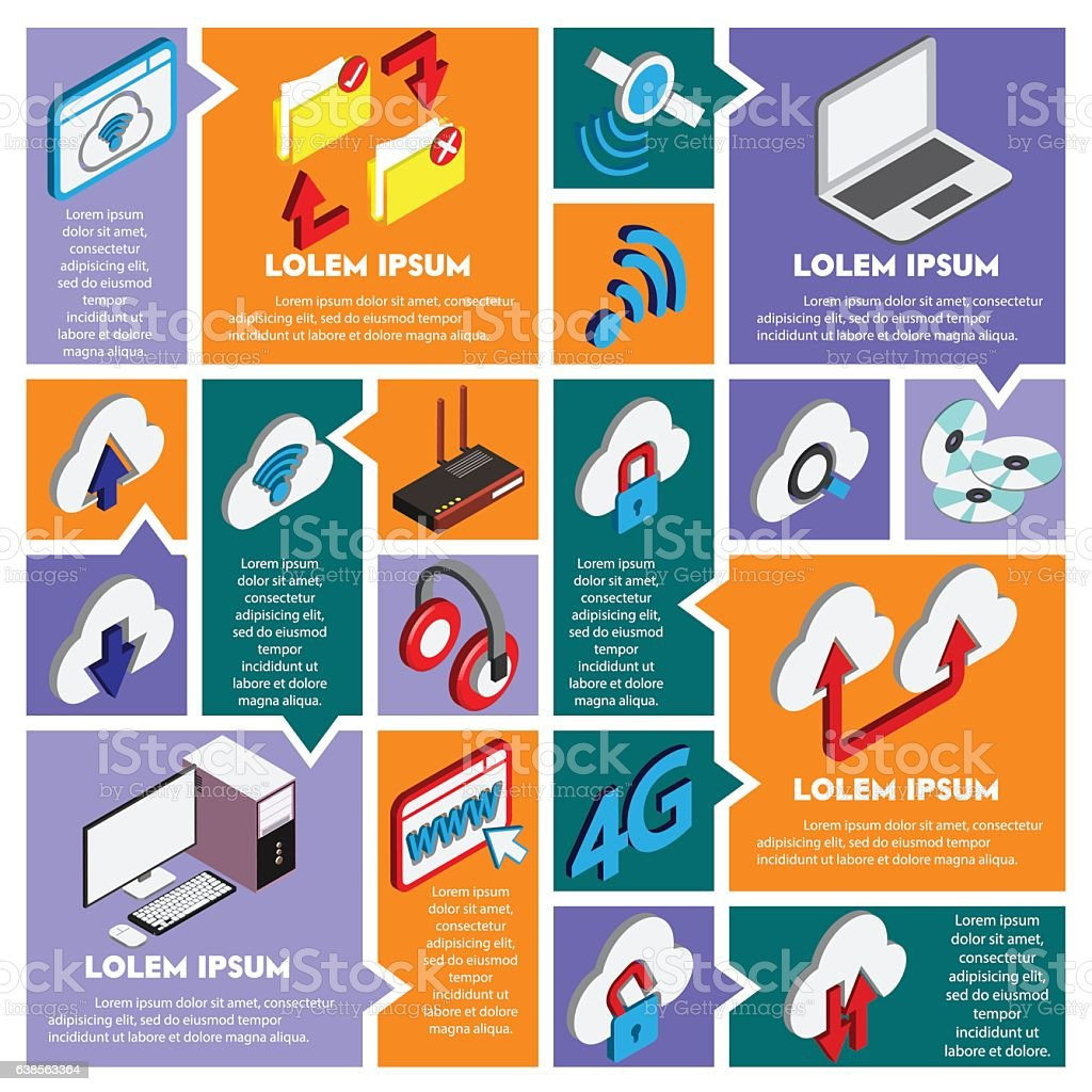illustration of info graphic technology concept vector art illustration