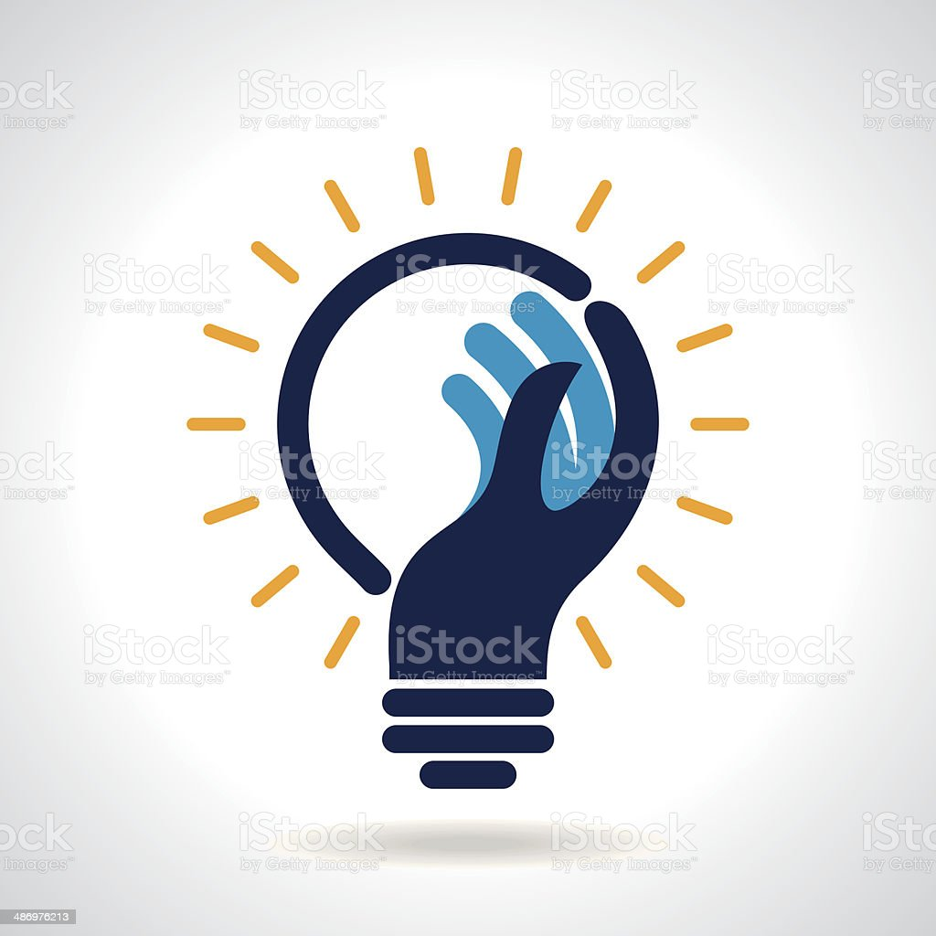 Illustration of integrated hand and light bulb vector art illustration