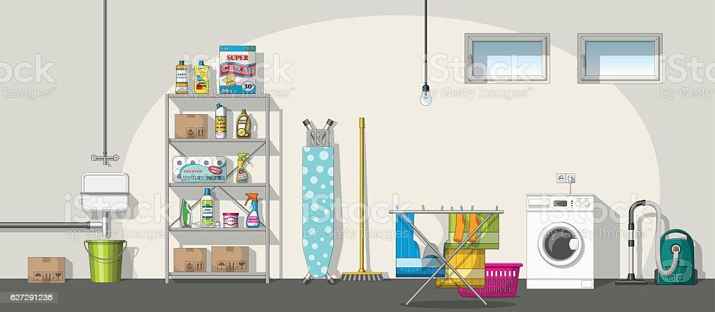 Illustration of interior equipment of a basement, panorama vector art illustration