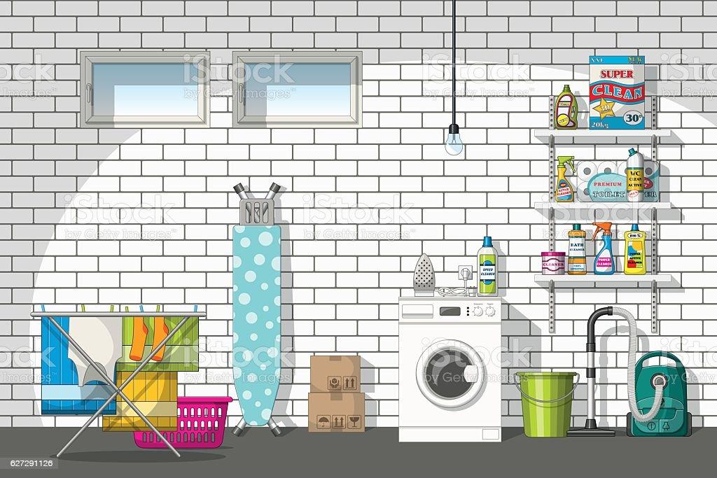 Illustration of interior equipment of a basement vector art illustration