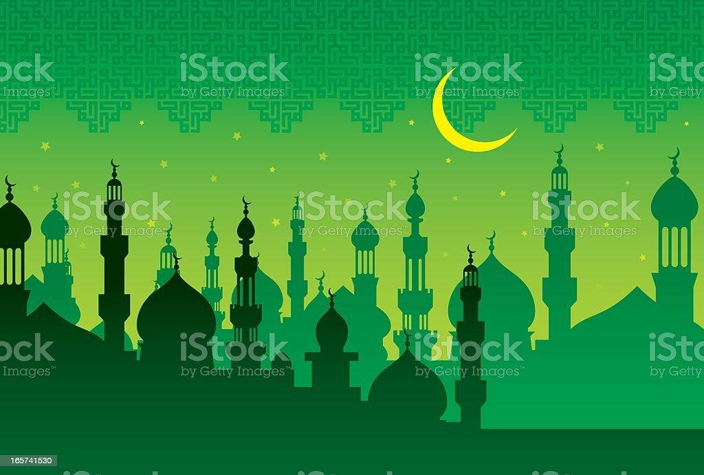 Illustration of islamic mosque in green tone vector art illustration