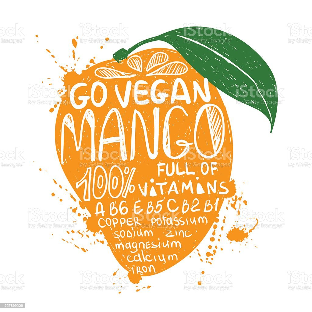 Illustration Of Isolated Colorful Mango Silhouette. vector art illustration