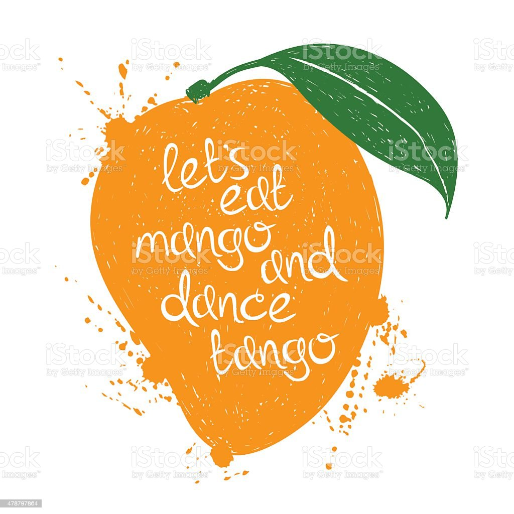 Illustration of isolated orange mango fruit silhouette. vector art illustration