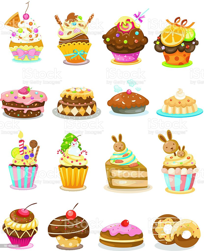 illustration of isolated set cupcake royalty-free stock vector art