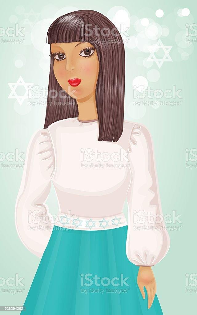 Illustration of Israeli Jewish girl. vector art illustration