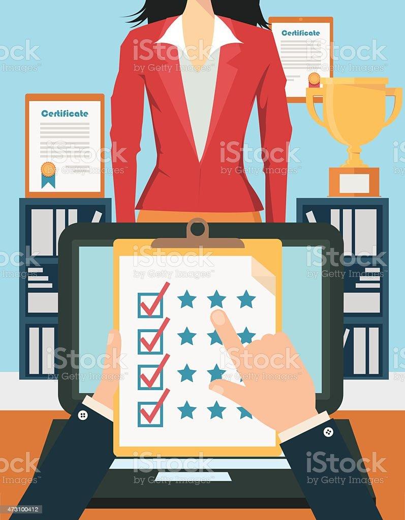 Illustration of job candidate assessment vector art illustration