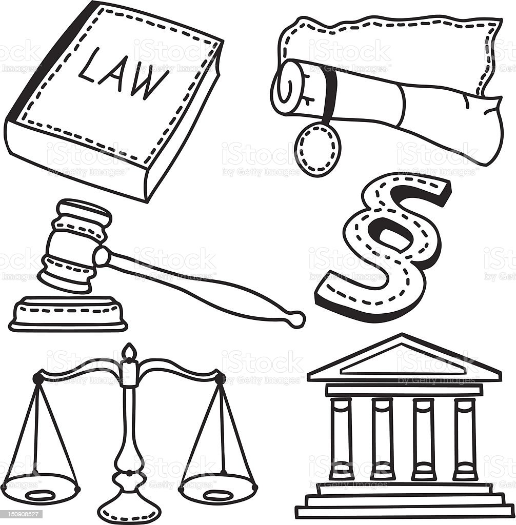 Illustration of judicial icons royalty-free stock vector art