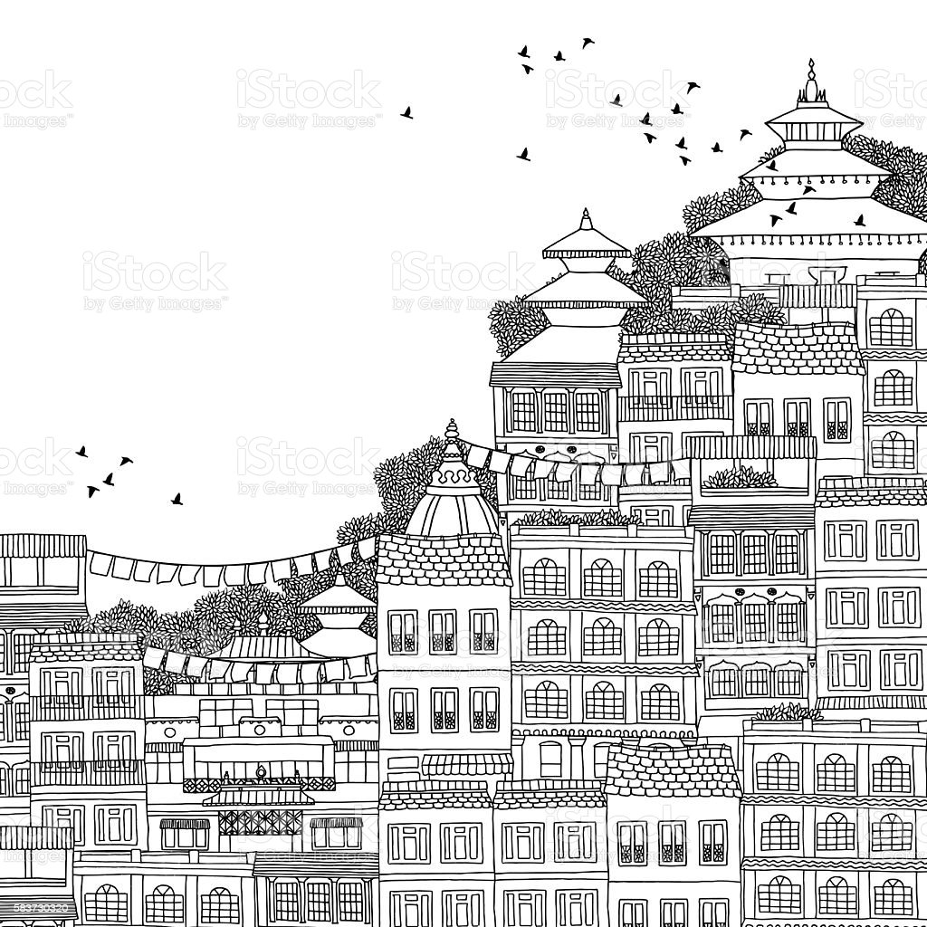 Illustration of Kathmandu with space for text vector art illustration
