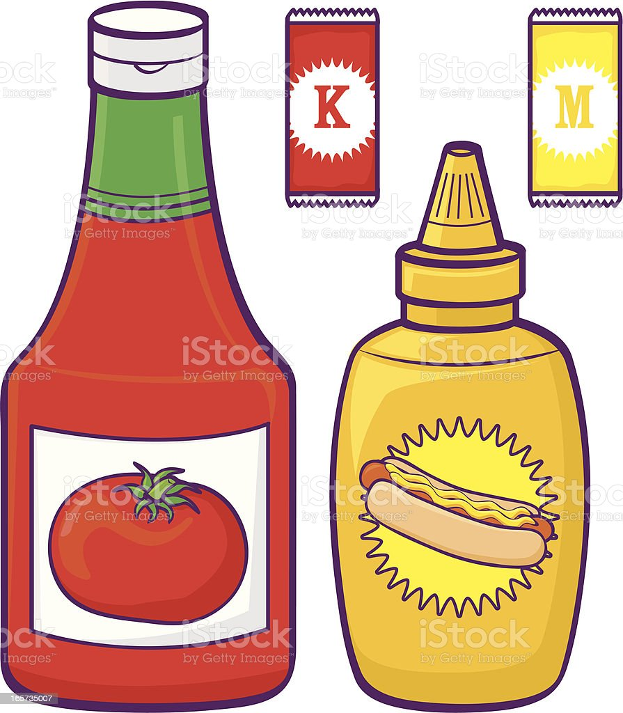 Illustration of ketchup and mustard bottles and sachets royalty-free stock vector art