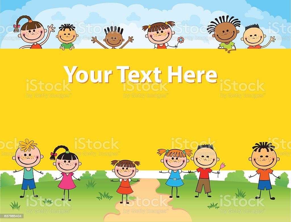 illustration of kids bunner around square banner behind poster vector vector art illustration