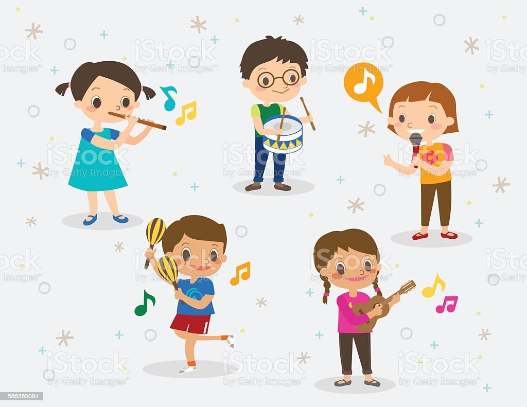illustration of kids playing different musical instruments vector art illustration