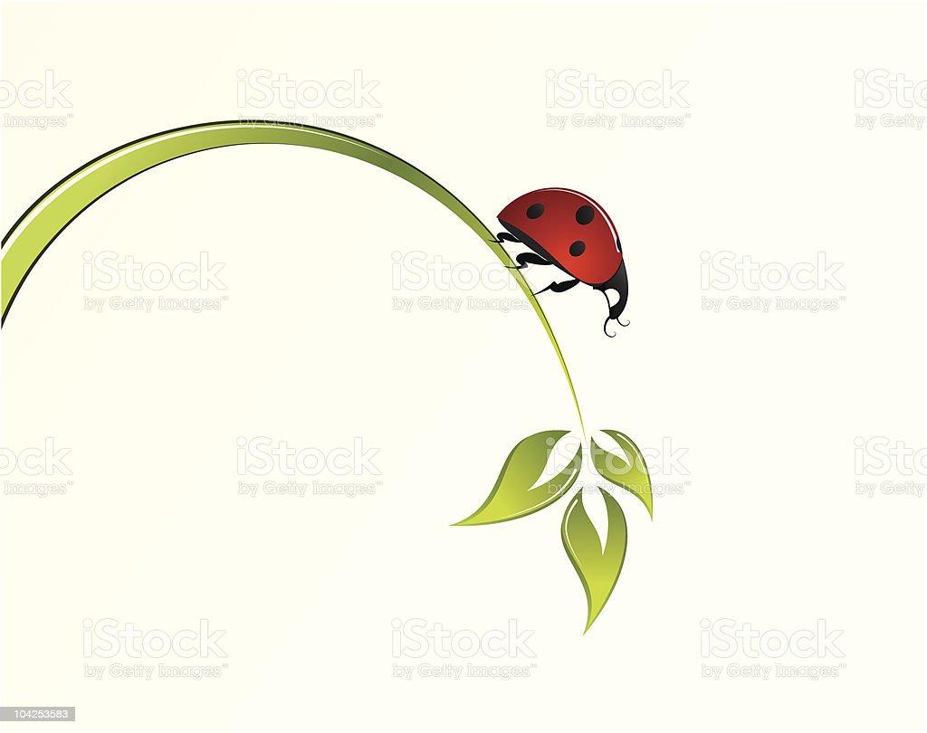 Illustration of ladybug standing on single blade of grass royalty-free stock vector art