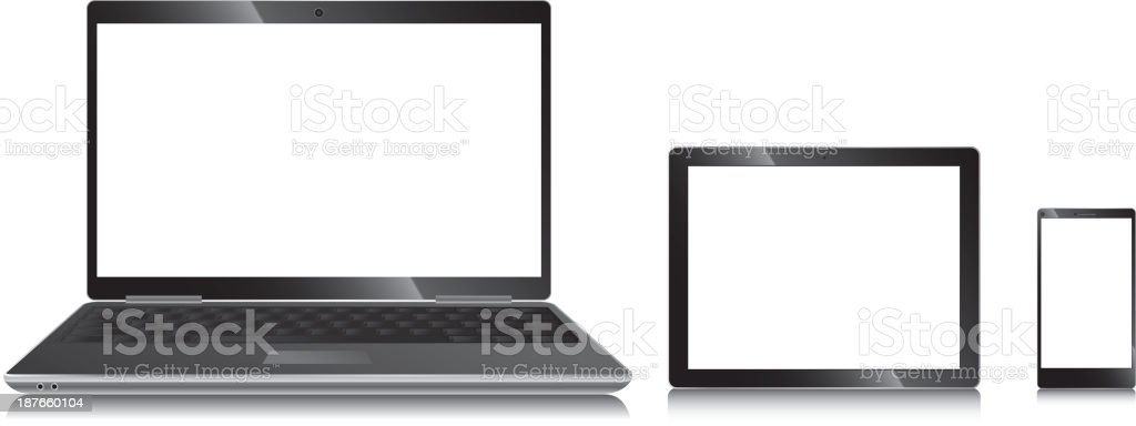 Illustration of laptop, tablet and cellphone royalty-free stock vector art