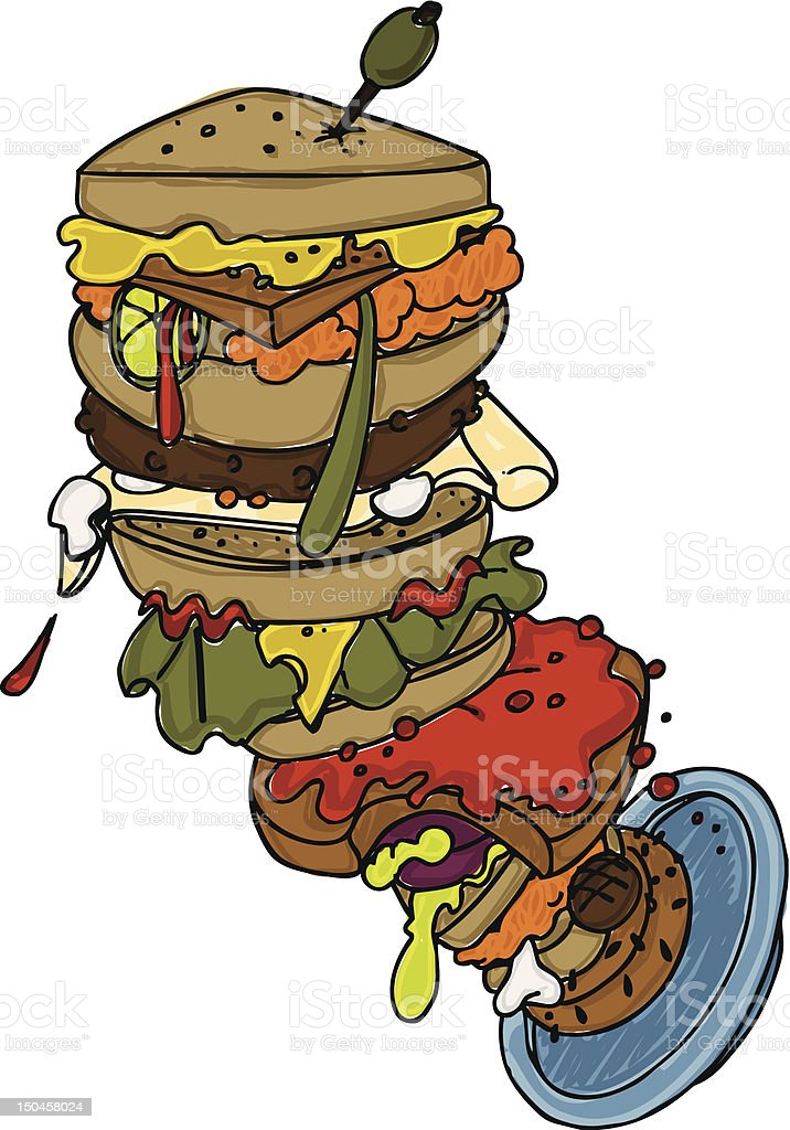 Illustration of Leaning Sandwich Tower royalty-free stock vector art
